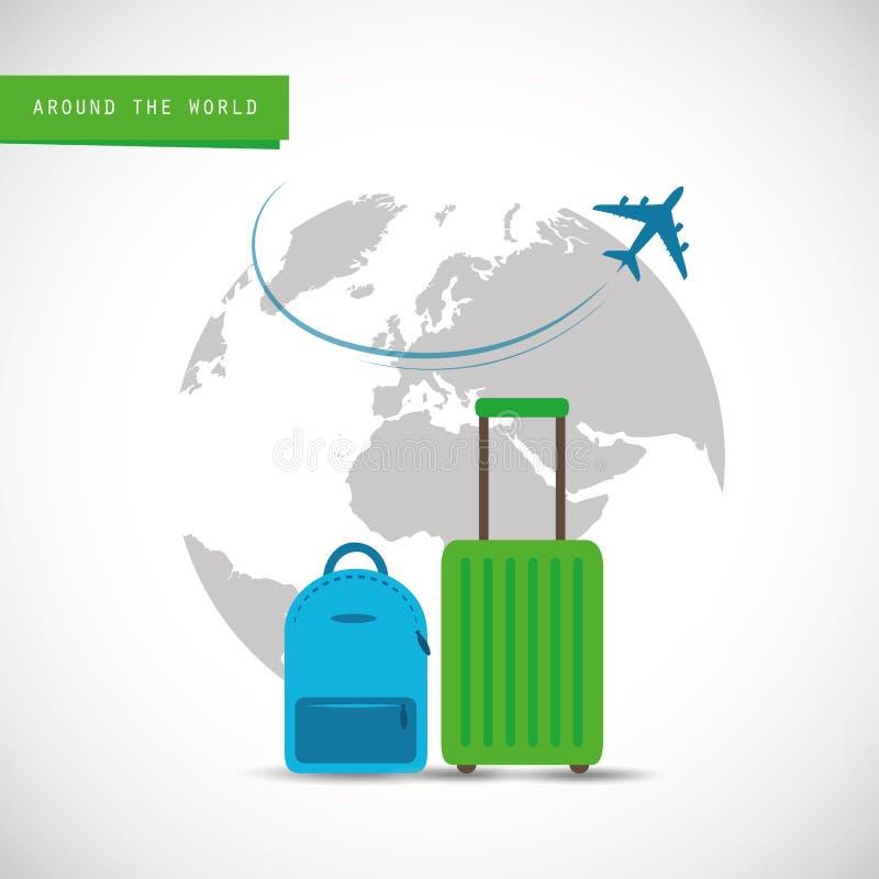 Voo plano ao redor do mundo com a mala de viagem azul e verde ilustração royalty free
