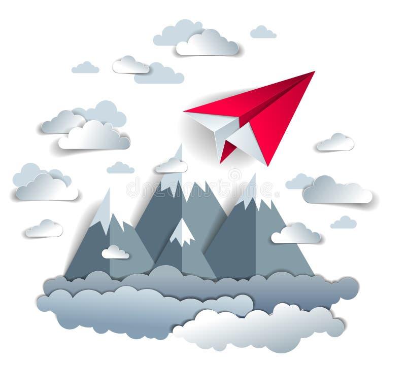 Voo plano do brinquedo do papel do orig?mi no c?u sobre picos de montanha, ilustra??o perfeita do vetor da paisagem c?nico da nat ilustração royalty free