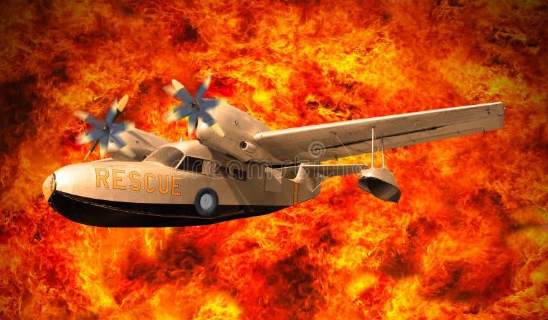 Voo plano do salvamento sobre o burning do fogo imagens de stock royalty free