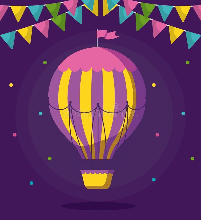 Voo quente do ar do balão com festões ilustração stock
