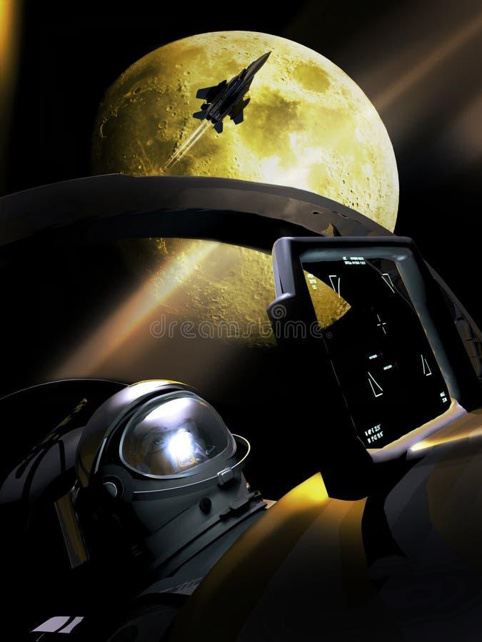 Voo sob a Lua cheia ilustração do vetor