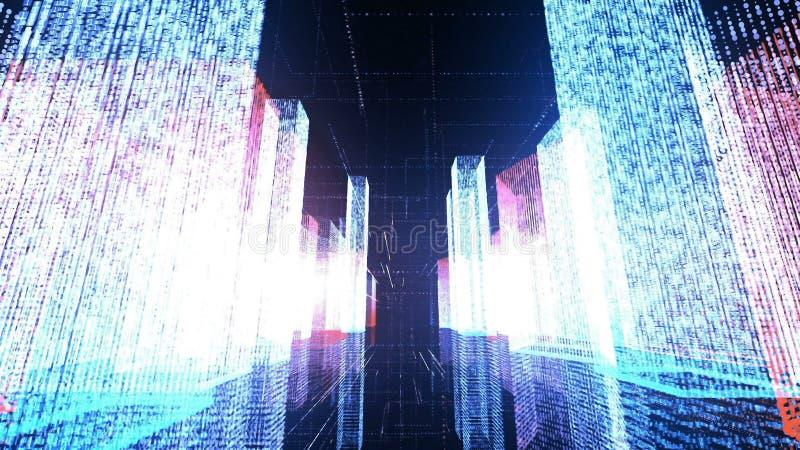 Voo sobre a cidade digital no Internet do negócio e da telecomunicação rendição 3d foto de stock royalty free