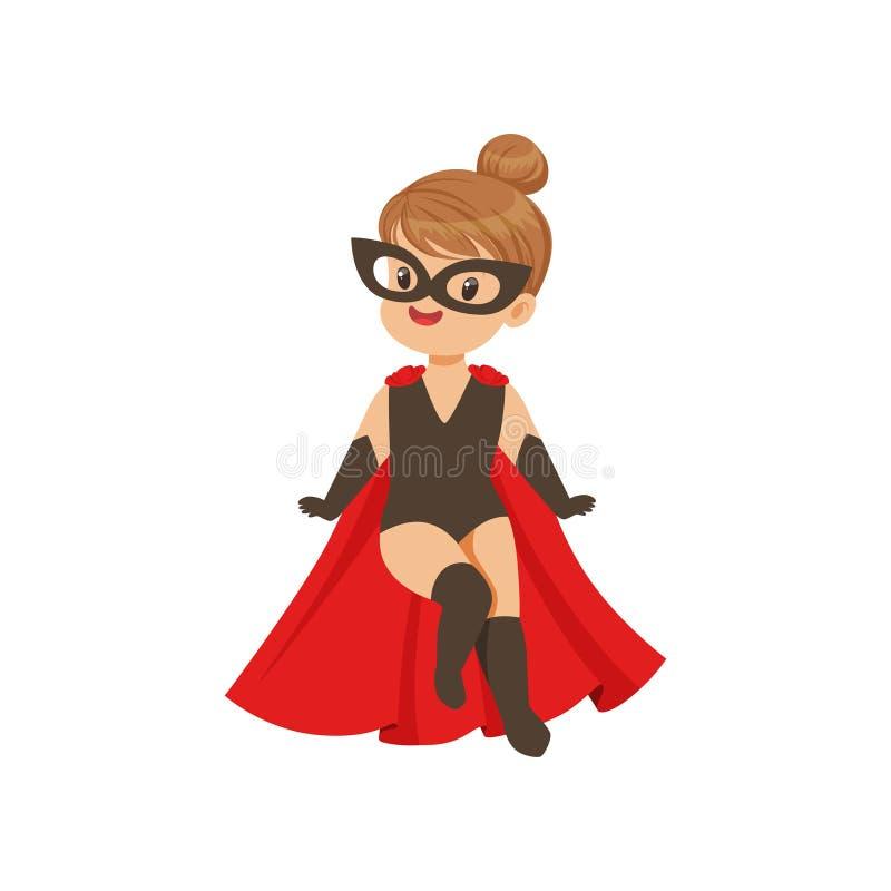 Voo super corajoso cômico da criança da menina no traje do preto do super-herói, na máscara e no casaco vermelho Caráter liso da  ilustração royalty free