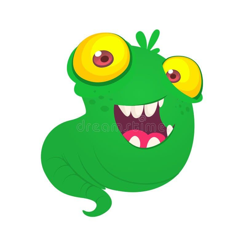 Voo verde bonito do monstro com os olhos amarelos grandes Ilustração do vetor ilustração do vetor