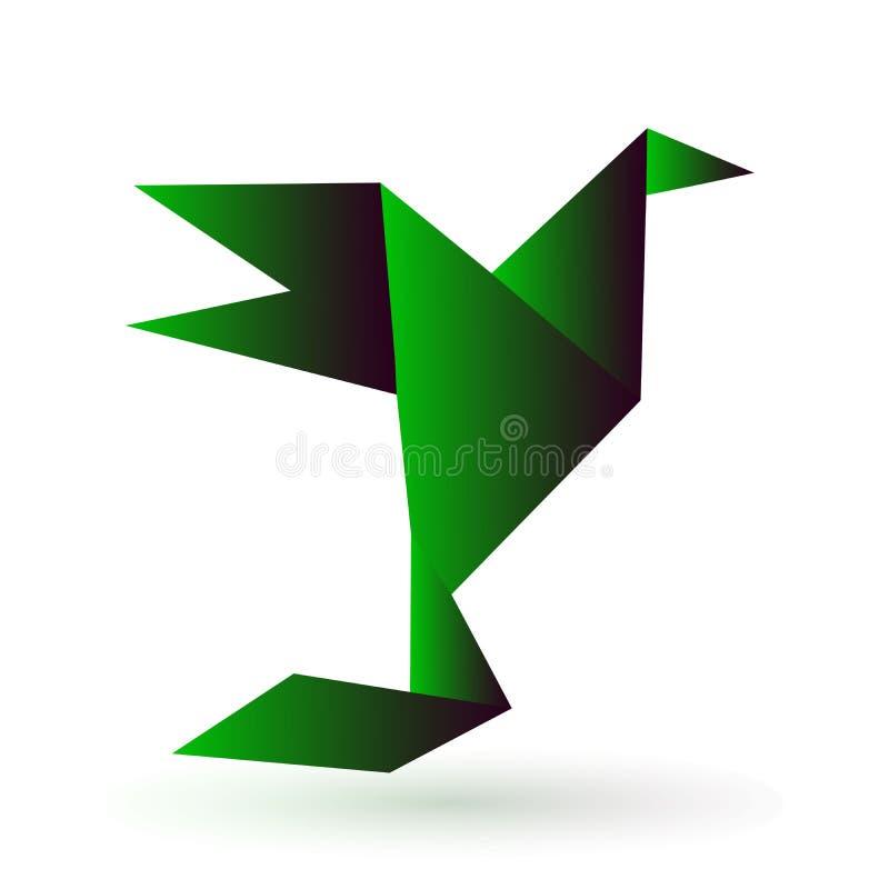 Voo verde do ofício de papel do pássaro do origâmi no quadro Art Isolated no fundo ilustração royalty free