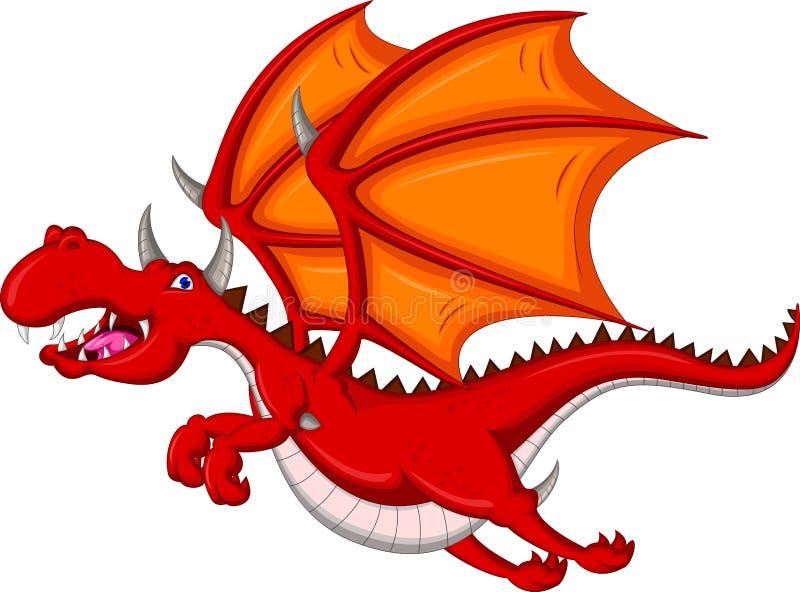 Voo vermelho bonito dos desenhos animados do dragão ilustração do vetor