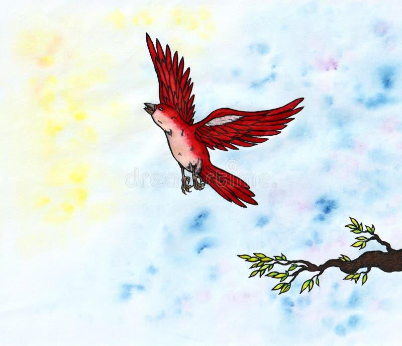 Voo vermelho do pássaro e aumentação no 2018 claro ilustração do vetor