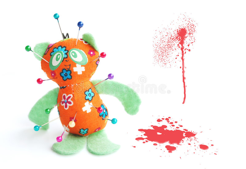 Voodoo. Objects on white: voodoo doll stock photography