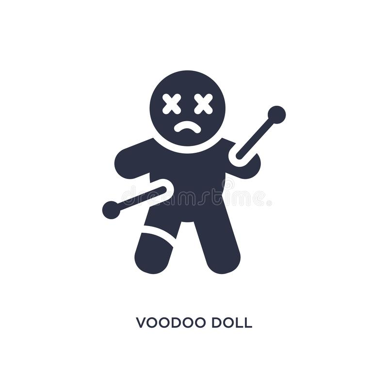 voodoo doll icon on white background. Simple element illustration from magic concept royalty free illustration