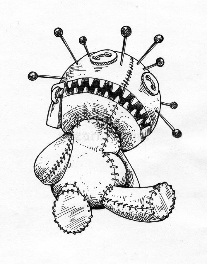 Voodoo doll - ink drawing stock images