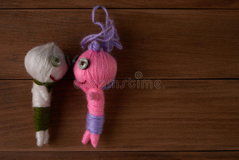 Voodoo Dolls. Cute Little Voodoo Dolls.Copy space.Top view stock image