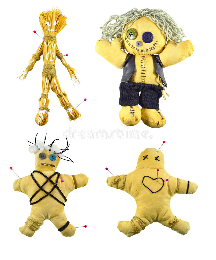 Voodoo dolls set. Isolated collection of the hand made voodoo dolls royalty free stock images