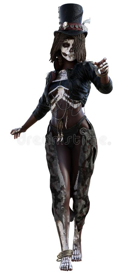 Voodoo girl with a corpse body paint. 3D render of a voodoo girl in a hat with a corpse body paint stock illustration