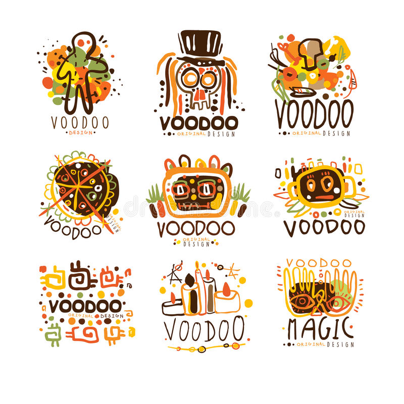 Voodoo- och magiuppsättning för etikettdesign Negro spiritual magiska kulturella vektorillustrationer royaltyfri illustrationer