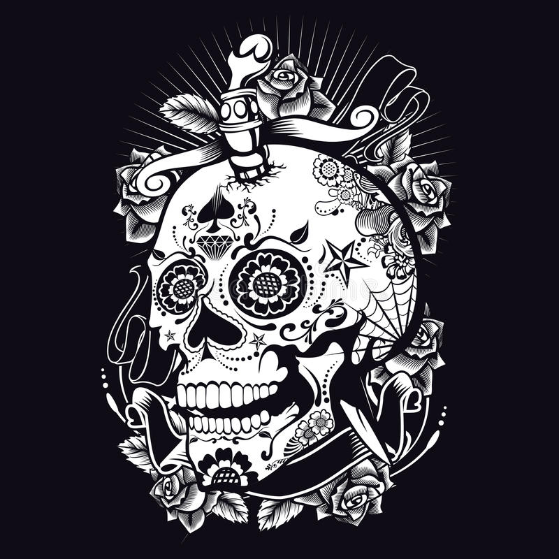 Voodoo Sugar Skull vektor illustrationer