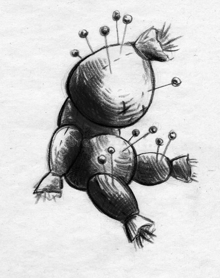 Voodoodockan skissar royaltyfri illustrationer