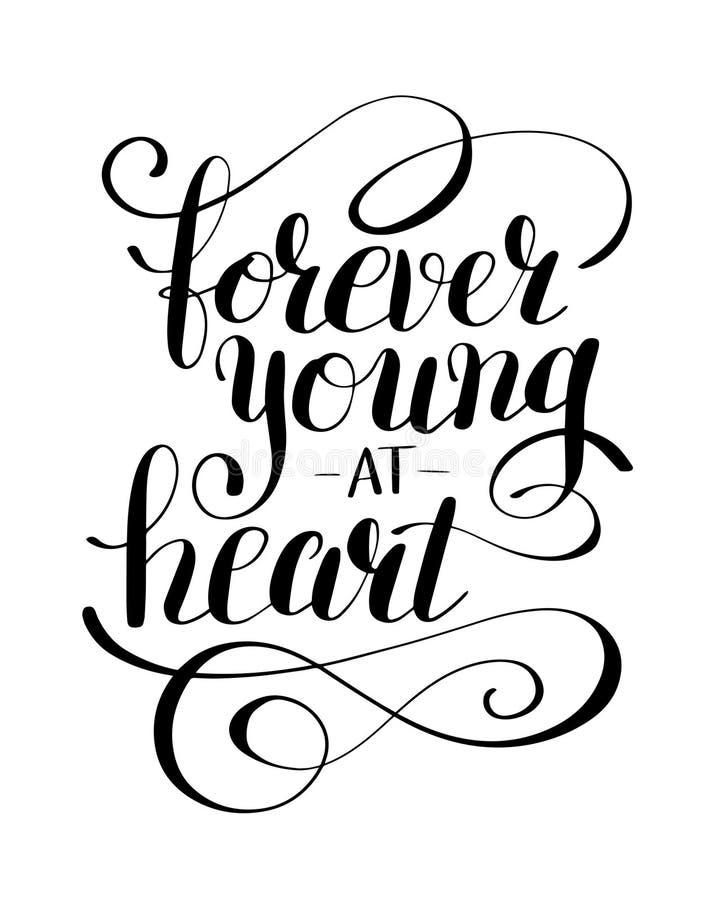 Voor altijd jong bij post van de hart de zwart-witte positieve typografie vector illustratie