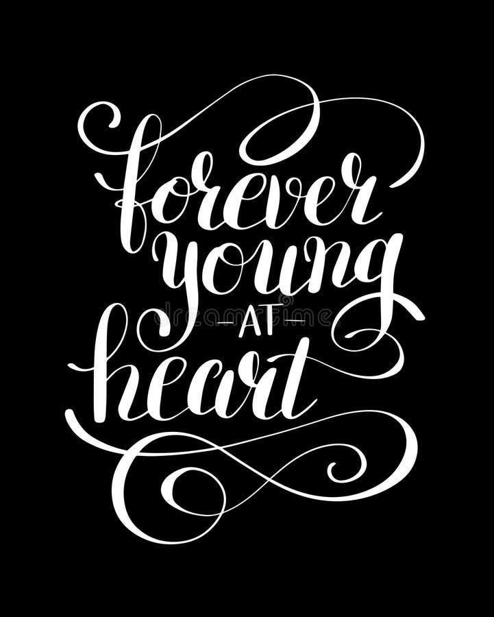 Voor altijd jong bij post van de hart de zwart-witte positieve typografie stock illustratie