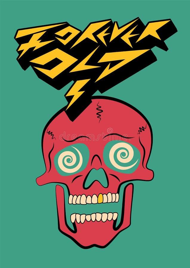 Voor altijd Oud Het typografische ontwerp van de partijaffiche met gekke schedel Retro vectorillustratie vector illustratie