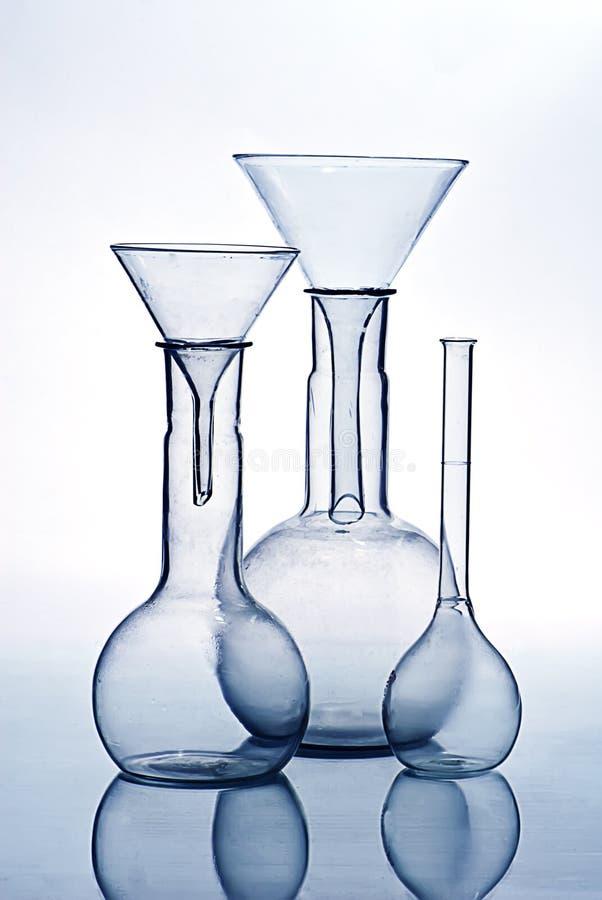 Voor de apparatuur van het het glaslaboratorium van het wetenschapsonderzoek royalty-vrije stock afbeelding