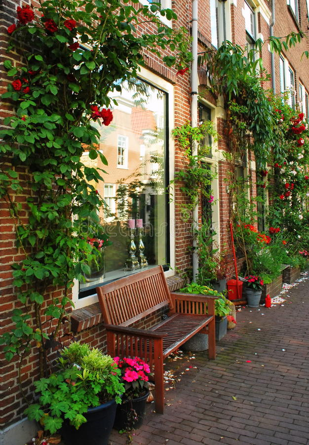 Voor de straat, de kleine stad van Gouda stock fotografie
