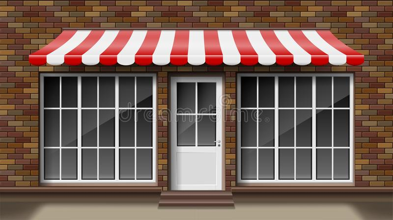 Voor de voorgevelmalplaatje van de baksteen klein 3d opslag met het afbaarden Buiten lege winkel of boutique met groot venster Le vector illustratie