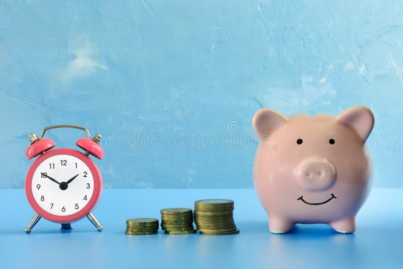 Voor een donkerblauw achtergrond gefotografeerd spaarvarken, naast haar een kleine roze wekker en drie stapels muntstukken royalty-vrije stock foto