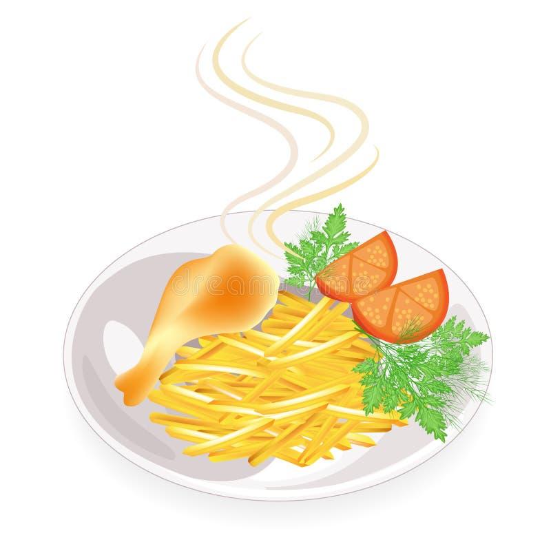 Voor een plaat, de trommelstok van kip gebraden vlees Versier aardappels met tomaat, dille en peterselie Smakelijk en voedzaam vo royalty-vrije illustratie