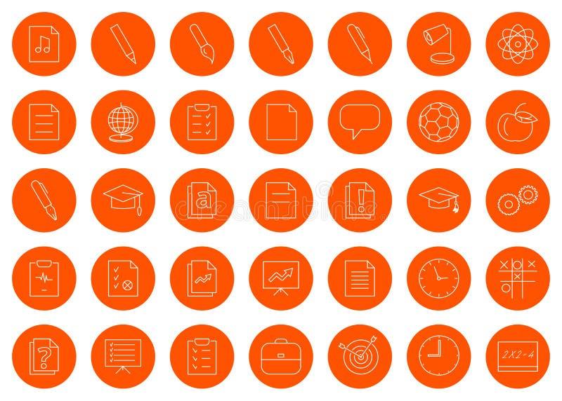 Voor een schoolplaats of een boekje, een reeks van vijfendertig lineaire ronde zwart-wit pictogrampictogrammen, klikt de kleurenv vector illustratie