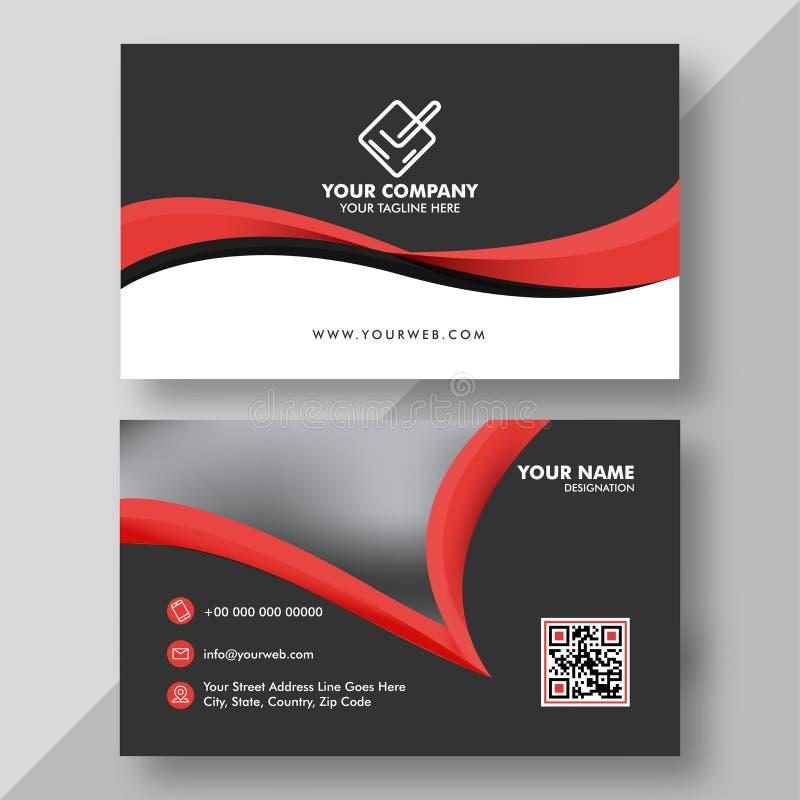 Voor en achtermening van Zwart en Rood adreskaartje stock illustratie