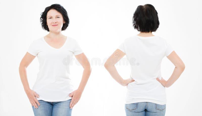 Voor en achtermeningen van middenleeftijdsvrouw in t-shirt op witte achtergrond Collage of reeks Spot omhoog voor ontwerp De ruim royalty-vrije stock afbeeldingen