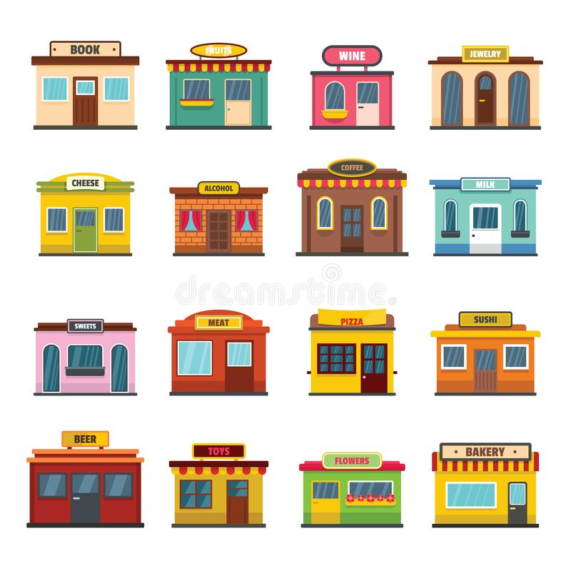 Voor geplaatste de winkelpictogrammen van de opslagvoorgevel, vlakke stijl vector illustratie