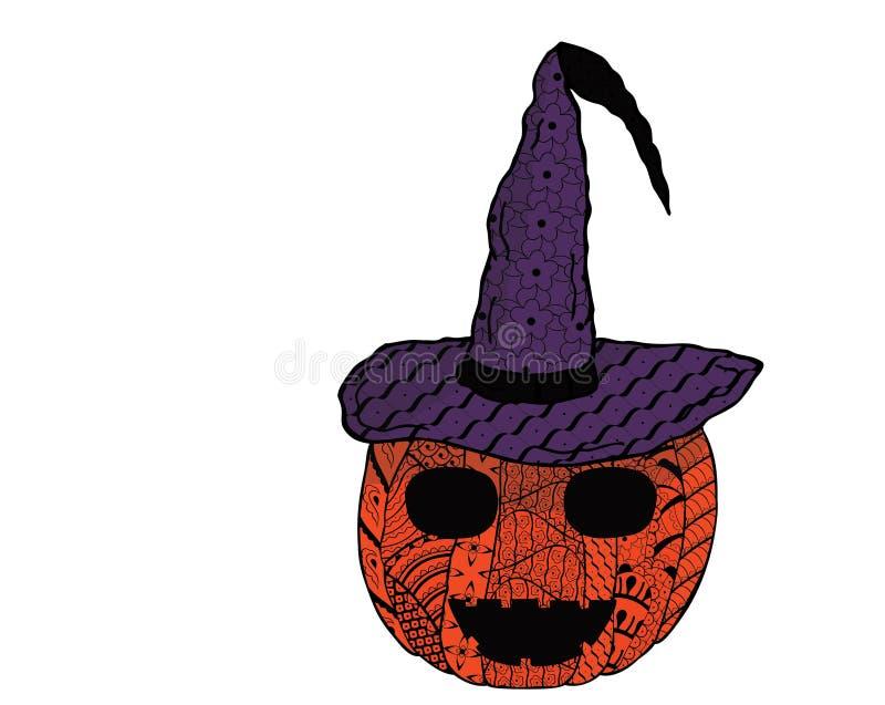Voor Halloween Het glimlachen van pompoen in een heks ` s GLB met patronen in Zenart-stijl Vector vector illustratie