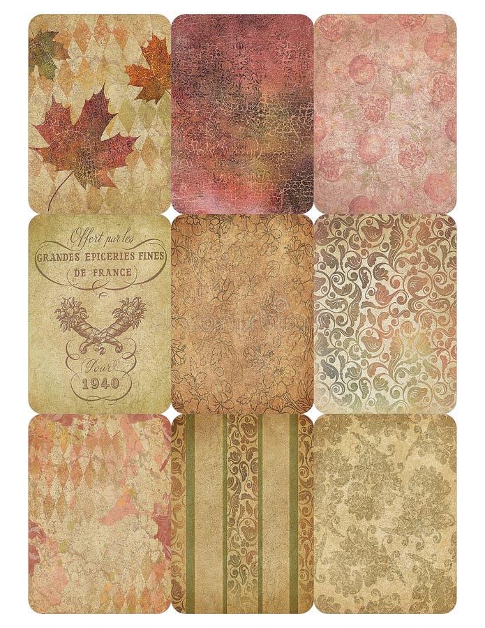 Voor het drukken geschikt Markeringsblad - Uitstekende Daling Autumn Collage Background - ATC Grootte - Voor het drukken geschikt royalty-vrije illustratie