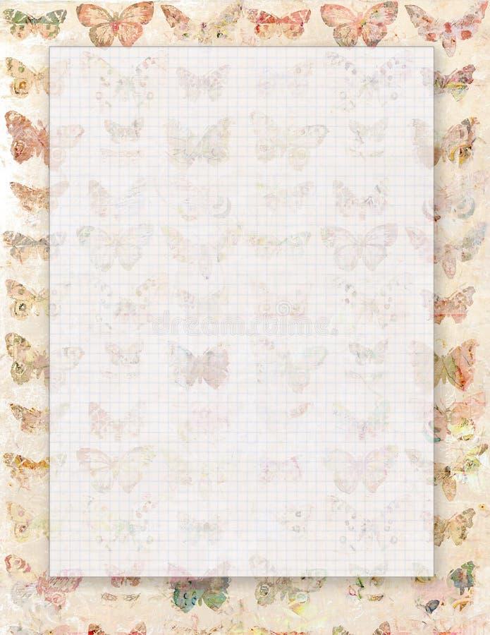 Voor het drukken geschikte uitstekende sjofele elegante stijl abstracte bloemen stationair of achtergrond met vlinders vector illustratie