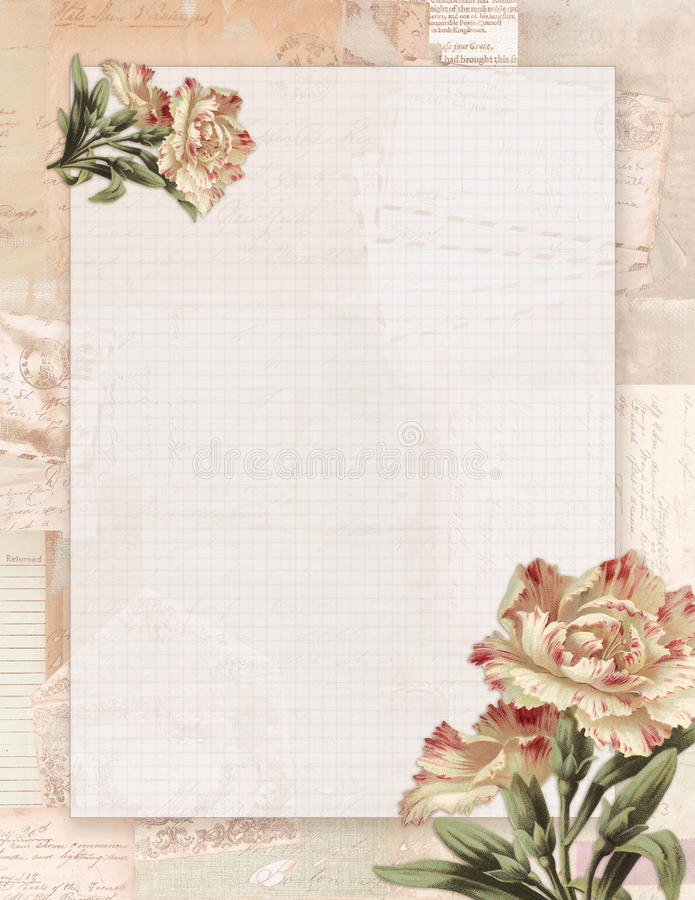 Voor het drukken geschikte uitstekende sjofele elegante stijl bloemen stationair op Groenboekachtergrond vector illustratie