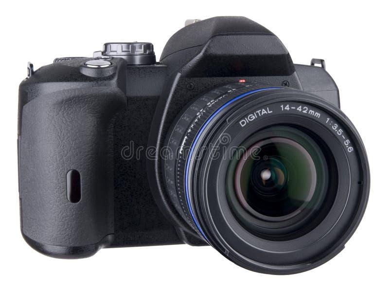 Voor hoekige mening DSLR met lens op wit royalty-vrije stock afbeelding