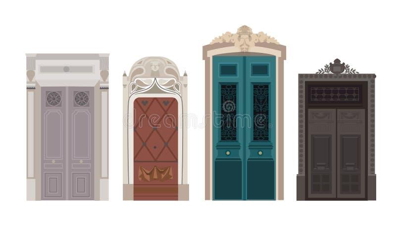 Voor houten deur aan huizen royalty-vrije stock afbeelding