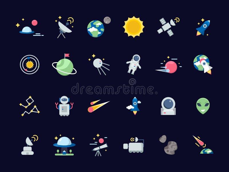 Voor u ontwerp Aardemaan met zon en satellieten stervormige meningen van telescoop vector ruimtepictogrammen in vlakke stijl royalty-vrije illustratie