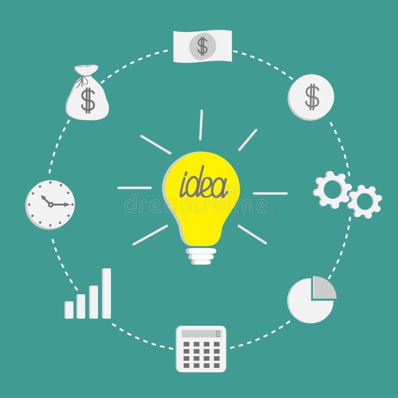 Voor u ontwerp Van het incidestreepje van het gloeilampenidee het Geld van de de lijncirkel, muntstuk, calculator Vlak Ontwerp vector illustratie