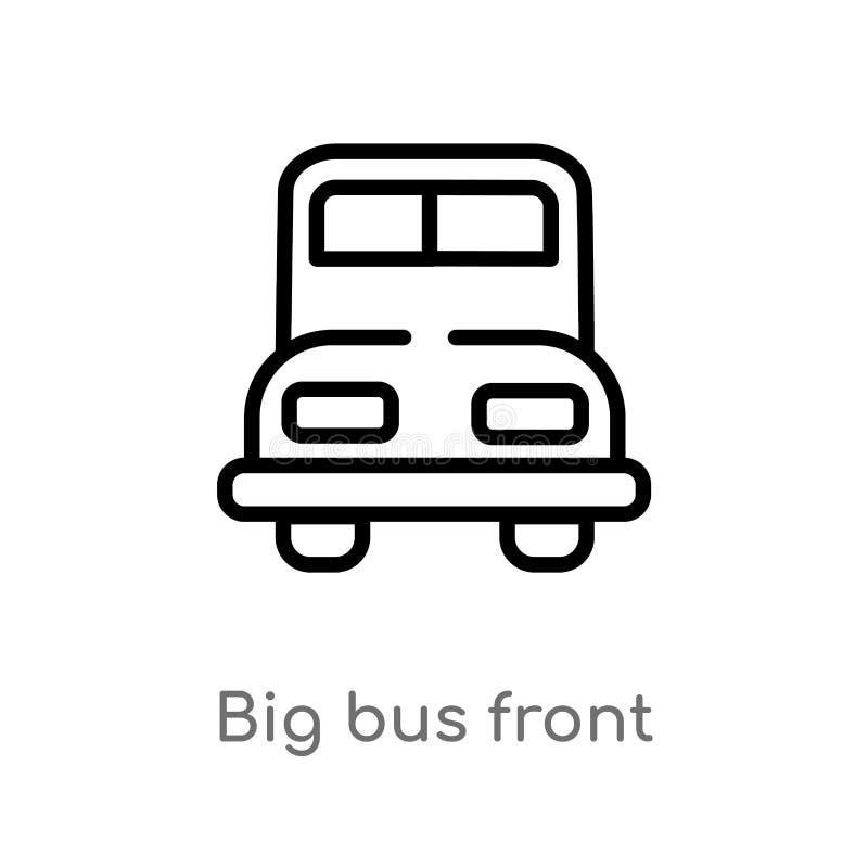 voor vectorpictogram van de overzichts het grote bus de ge?soleerde zwarte eenvoudige illustratie van het lijnelement van mechani royalty-vrije illustratie