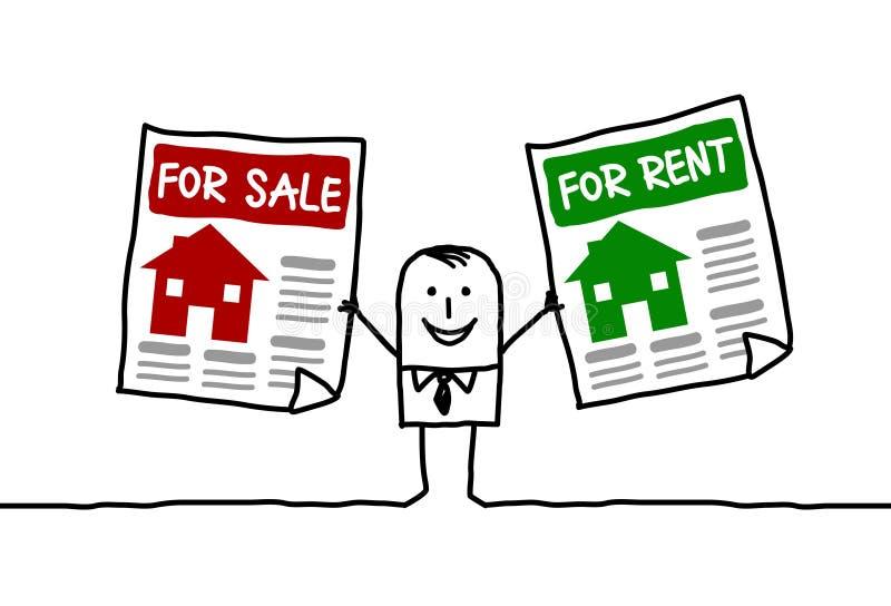 Voor verkoop & voor huur stock illustratie