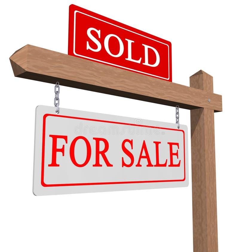 Voor verkoop en verkocht teken vector illustratie