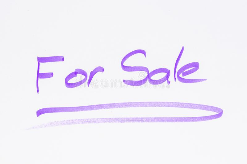 A voor verkoop teken, met de hand gemaakt royalty-vrije stock afbeelding