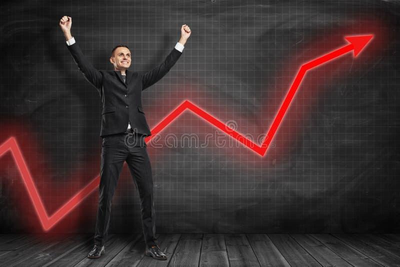Voor volledige lengtemening die van gelukkige zakenman wapens in zegevierend gebaar met het rode grafiekpijl uitgaan opheffen ach royalty-vrije stock foto's