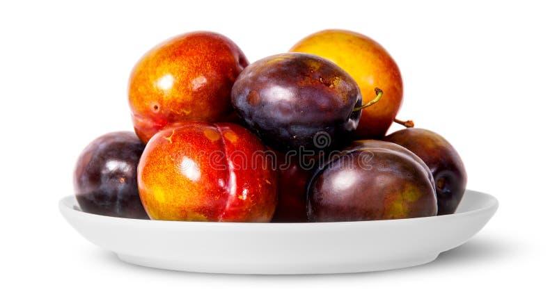 Vooraan mengeling van rode en violette pruimen op witte plaat stock foto's