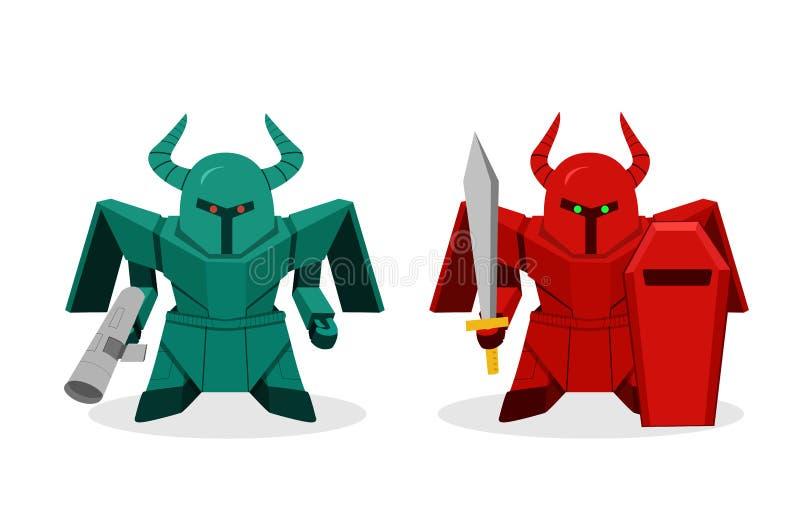 Vooraanzicht, de robot van MilitairHumanoid voor oorlog royalty-vrije illustratie