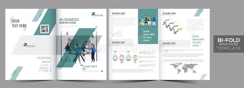 Vooraanzicht en achteraanzicht van het model van de Brochure van het bil-Vold of Jaarverslag voor de Vooruitgang van de Zaken stock illustratie