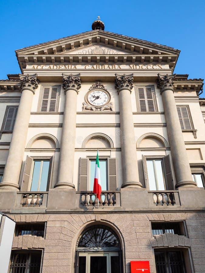 Vooraanzicht van Accademia Carrara in Bergamo royalty-vrije stock afbeelding