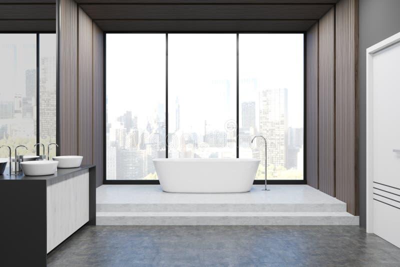 Vooraanzicht van badkamers met gootstenen stock illustratie